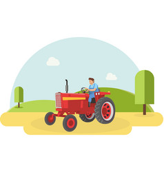 a farmer driving his tractor into farm filed vector image