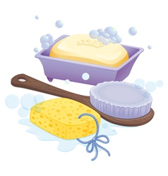 A sponge brush and soap vector