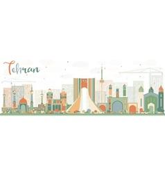 Abstract Tehran Skyline with Color Landmarks vector