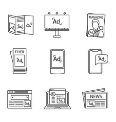 Advertising channels linear icons set vector