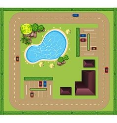 Aerial view of luxurious house vector