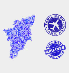 Airlines composition tamil nadu state map vector