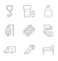 Ambulance service icons set outline style vector