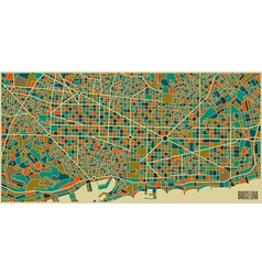 Barcelona colourful city plan vector