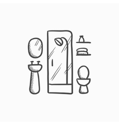 Bathroom sketch icon vector image