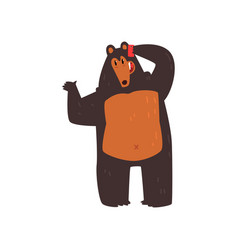 bear talking on the phone cute animal cartoon vector image