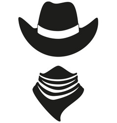 Black and white cowboy avatar silhouette vector