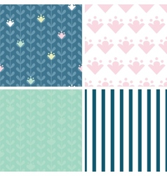 Blloming vines stripes set of four marching vector