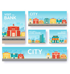 building city information cards set architecture vector image