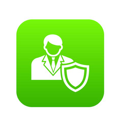 businessman protection icon green vector image