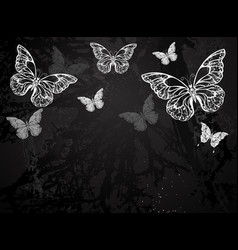 Butterflies drawn in chalk vector