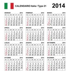 Calendar 2014 Italy Type 21 vector image