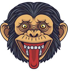 Cartoon chimpanzee head mascot showing tongue vector