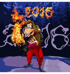 cartoon monkey with a flamethrower in 2016 vector image