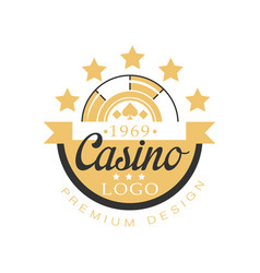 Casino logo premium design golden vintage vector