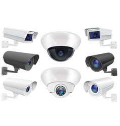 cctv surveillance system collection of security vector image