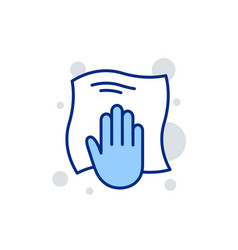 Cleaning cloth line icon wipe with a rag vector