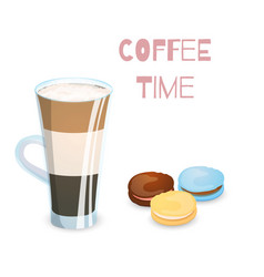 coffee drink and macaroons vector image