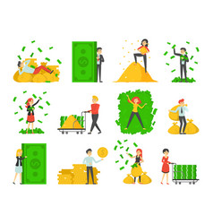 collection happy rich people isolated vector image