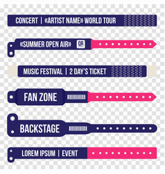 concert bracelets for entrance to the event set vector image