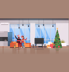 couple drinking champagne merry christmas happy vector image