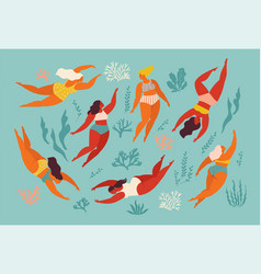 Cute decorative background with swimming women and vector