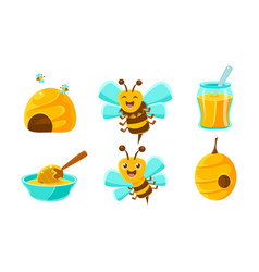 cute funny bees beehive fresh honey organic and vector image