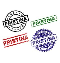 Damaged textured pristina stamp seals vector