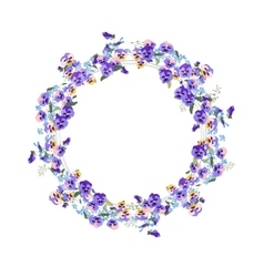 Detailed contour wreath with forget-me-nots and vector
