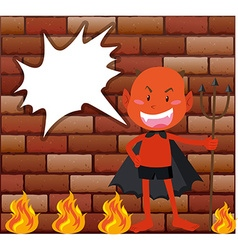 Devil and fire in front of brick wall vector