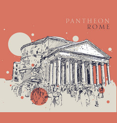 drawing sketch pantheon rome vector image