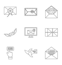 email icons set outline style vector image