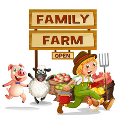 farmer and farm products vector image