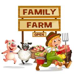 Farmer and farm products vector
