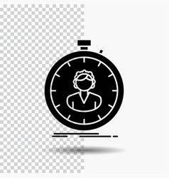 Fast speed stopwatch timer girl glyph icon on vector
