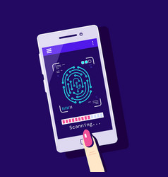 fingerprint scanning to mobile phone flat style vector image