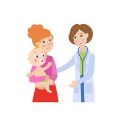 Flat female doctor infant baby with mother vector