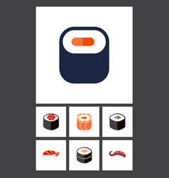 Flat icon salmon set of japanese food sashimi vector