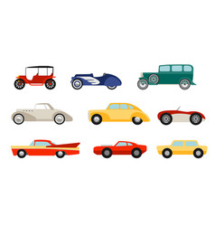 Flat style classic cars set vector