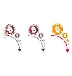 Fragmented pixelated halftone bitcoin deflation vector