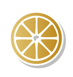 Fruits lemon sign golden gradient icon vector