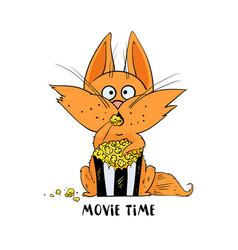 funny cat eat popcorn and watching a movie vector image