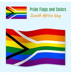 Gay pride flag of South Africa with correct color vector