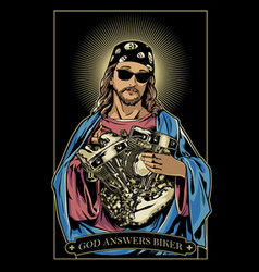 god answers biker vector image