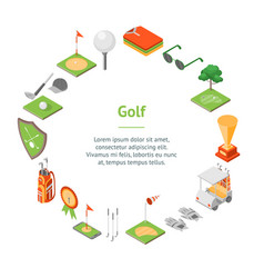 Golf game equipment banner card circle isometric vector