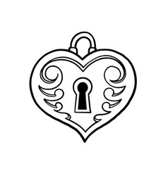 Graphic heart shaped lock vector