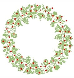 Green and red christmas wreath isolated on white vector image