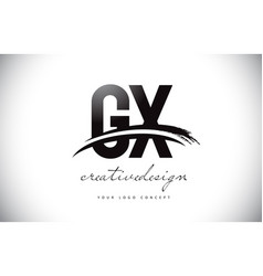 gx g x letter logo design with swoosh and black vector image