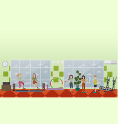 Gym girls concept in flat vector