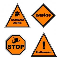 Halloween road signs vector image